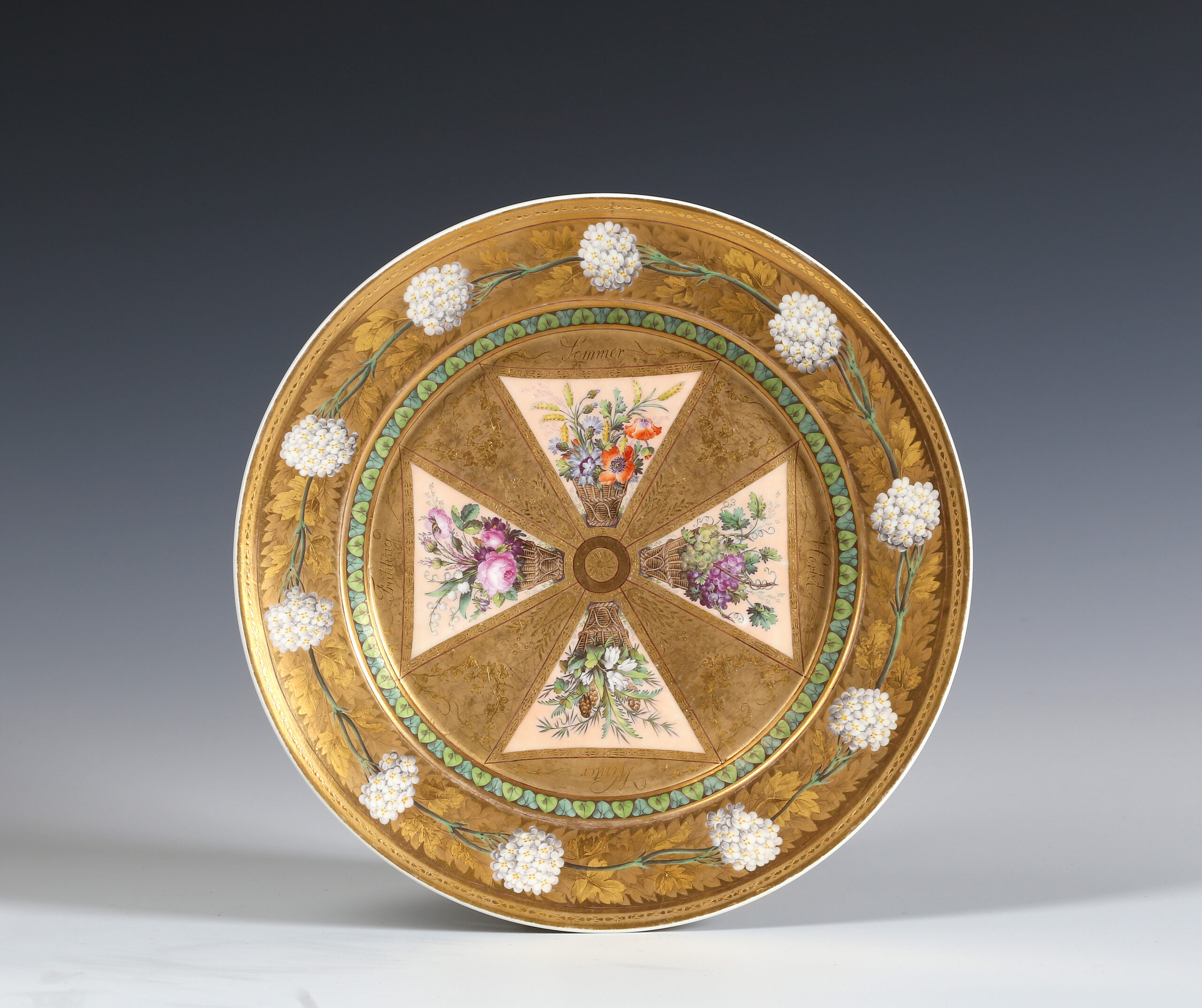 A BERLIN (KPM) PLATE DECORATED WITH THE FOUR SEASONS