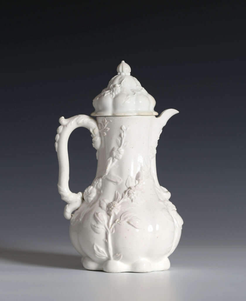 A CHELSEA TEAPLANT COFFEE POT AND A COVER Designed by Nicholas Sprimont