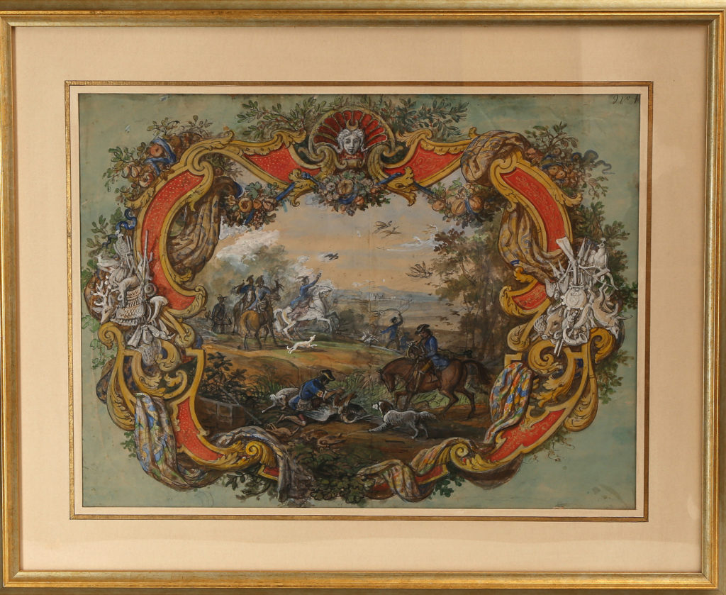 Hunting scene in a colourful cartouche, circa 1840 JEAN-CHARLES DEVELLY (1783-1862)