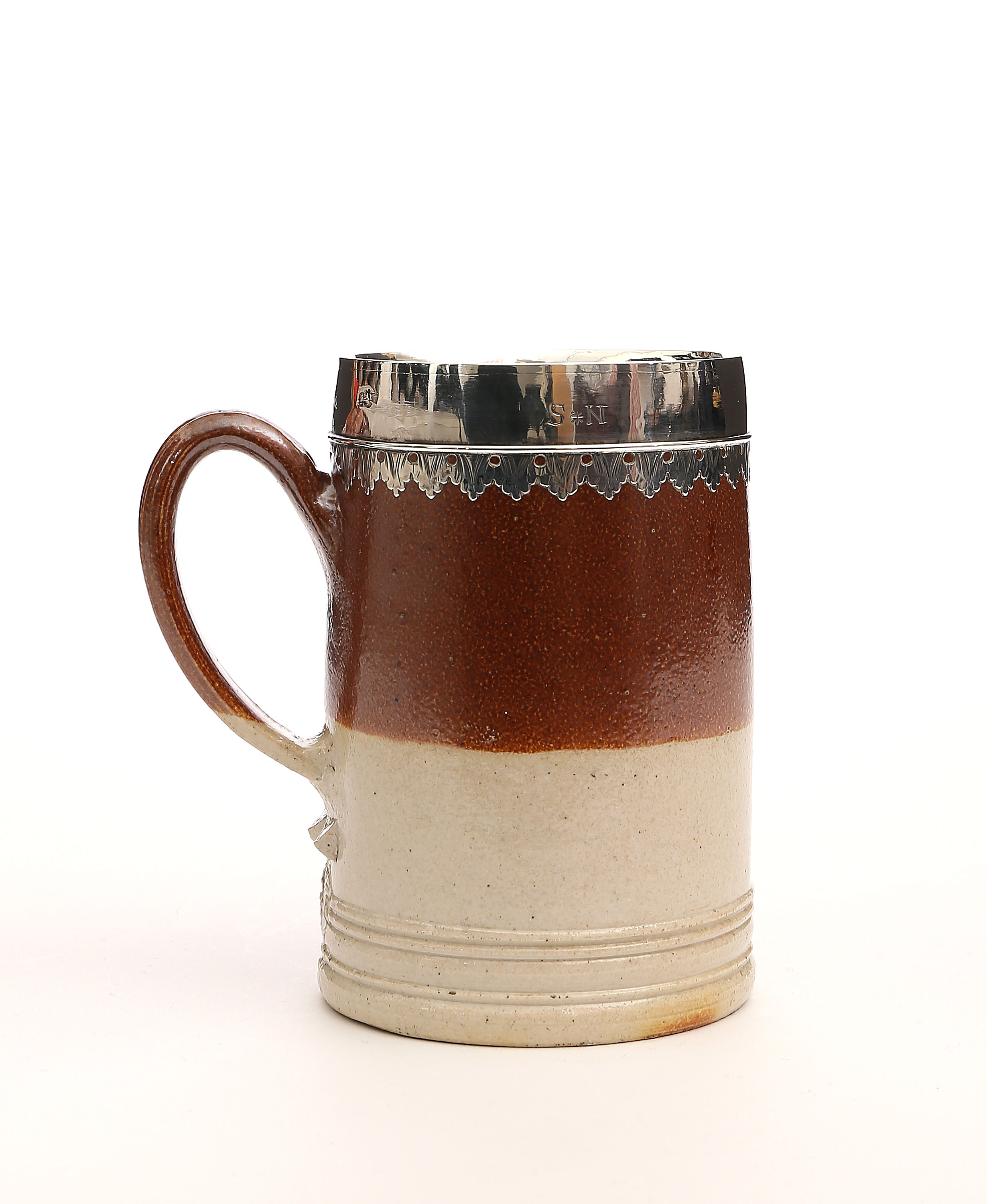 A LONDON SILVER-MOUNTED 'FINEWARE' PINT TANKARD