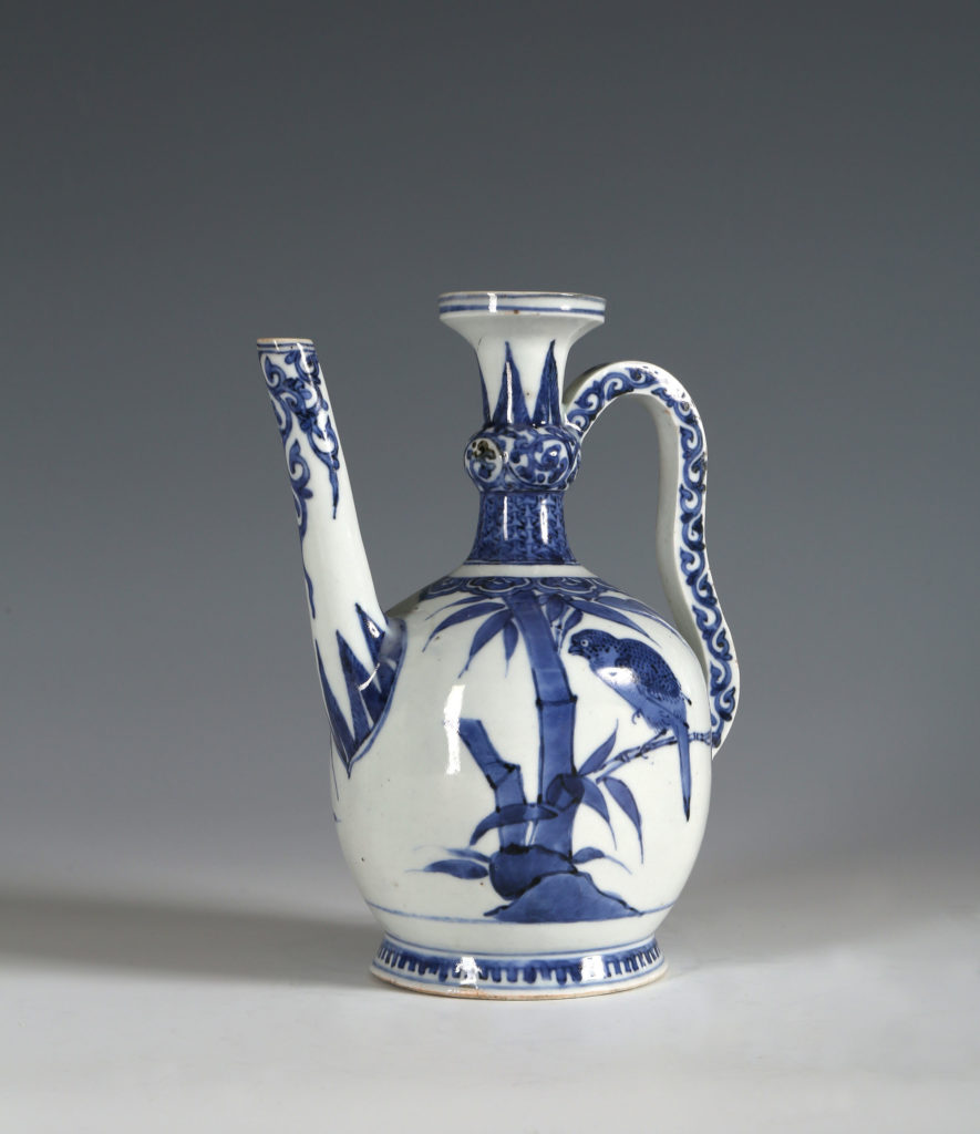 A BLUE AND WHITE ARITA EWER