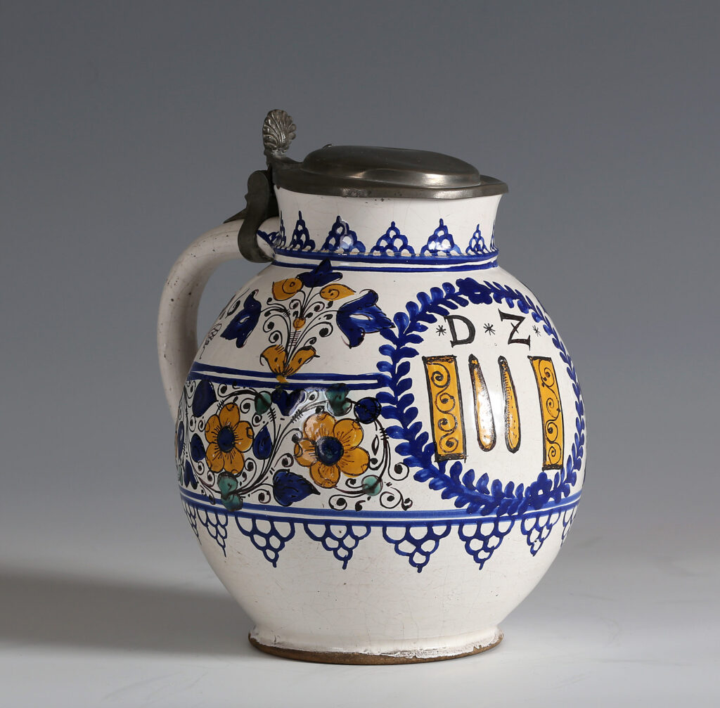 A Hutterite-Haban pewter-mounted jug, Northern Hungary (now Slovakia)