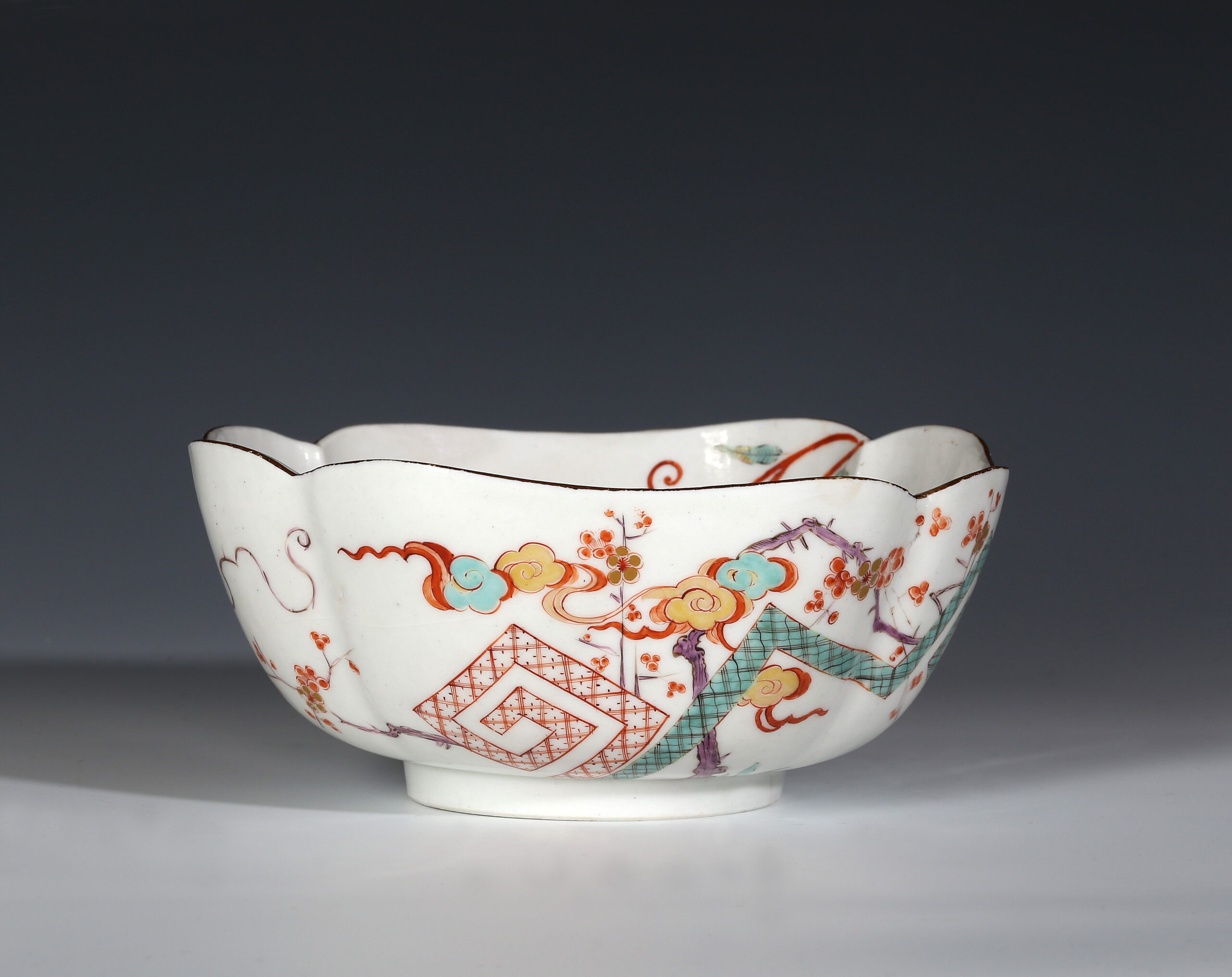 A MEISSEN SQUARE BOWL COPIED FROM A JAPANESE ORIGINAL