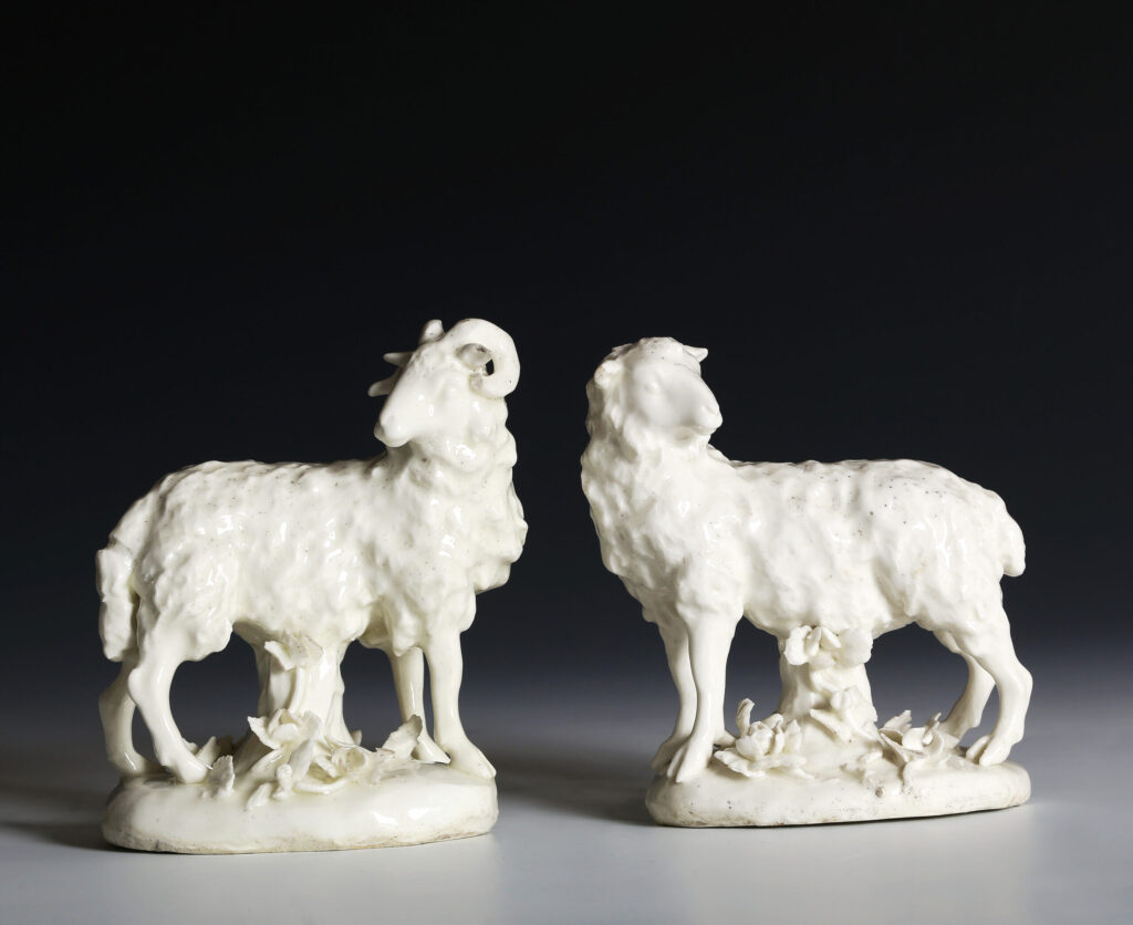 A PAIR OF DRY-EDGE DERBY MODELS OF A RAM AND AN EWE