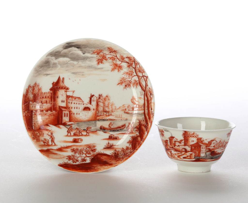 A MEISSEN BÖTTGER PORCELAIN TEABOWL AND SAUCER ATTRIBUTED TO IGNAZ PREISSLER