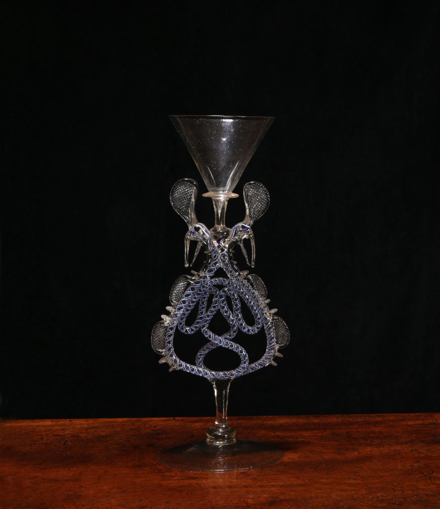 A FAÇON DE VENISE SERPENT-STEMMED WINGED WINE GLASS, Probably Southern Netherlands or Germany