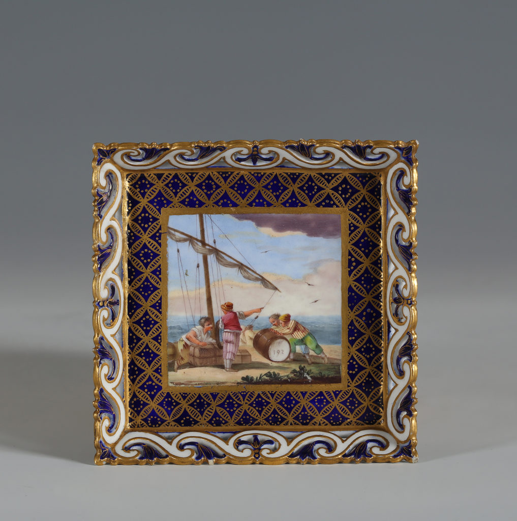 A SEVRES SQUARE TRAY, PLATEAU CARRE, OF THE THIRD SIZE