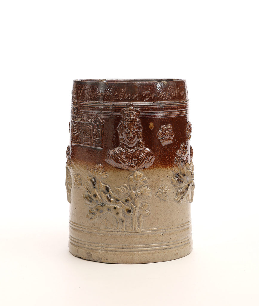A LARGE LONDON DATED STONEWARE TANKARD