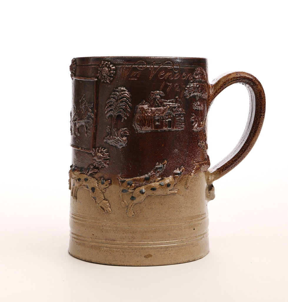 A LARGE DATED LONDON STONEWARE TANKARD