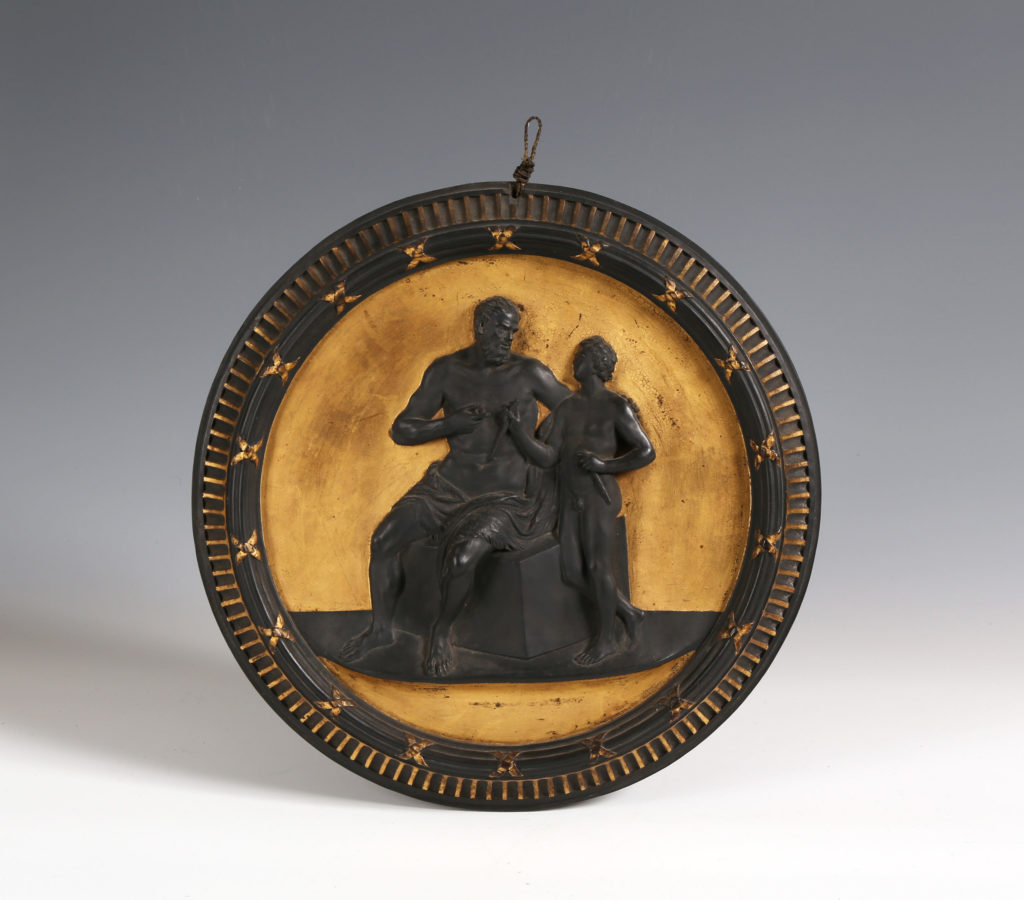 A LARGE WEDGWOOD GILDED BASALT PLAQUE