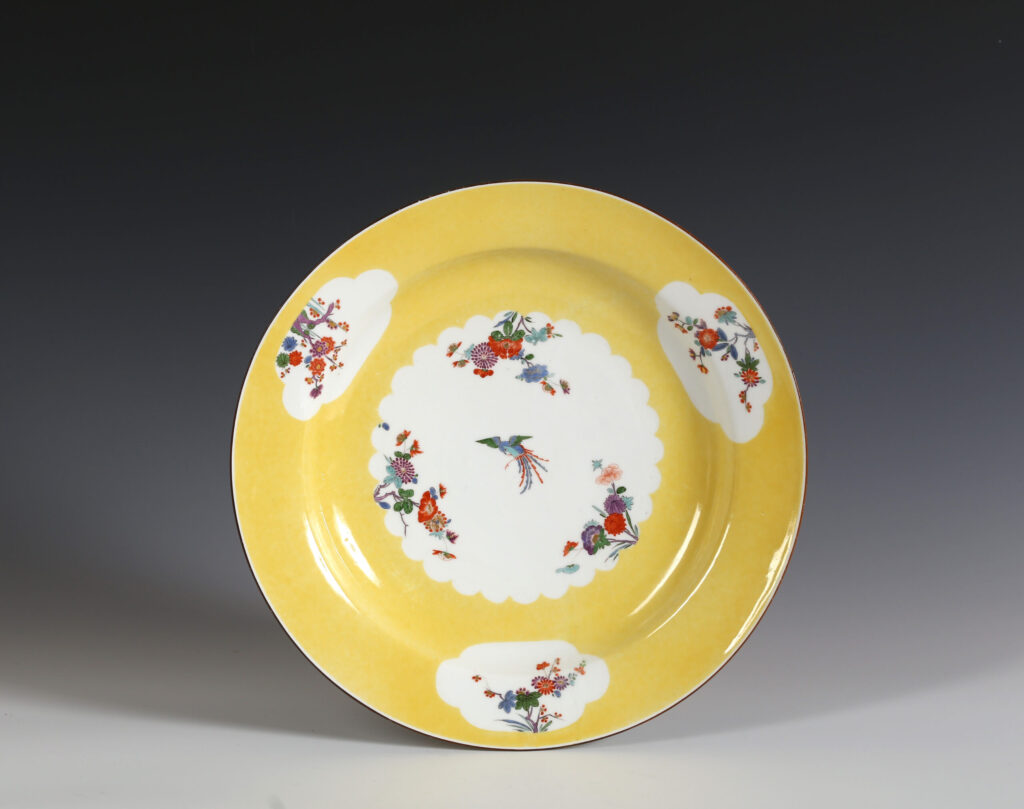 A LARGE MEISSEN DISH FROM THE YELLOW HUNTING or GELBE JAGD SERVICE